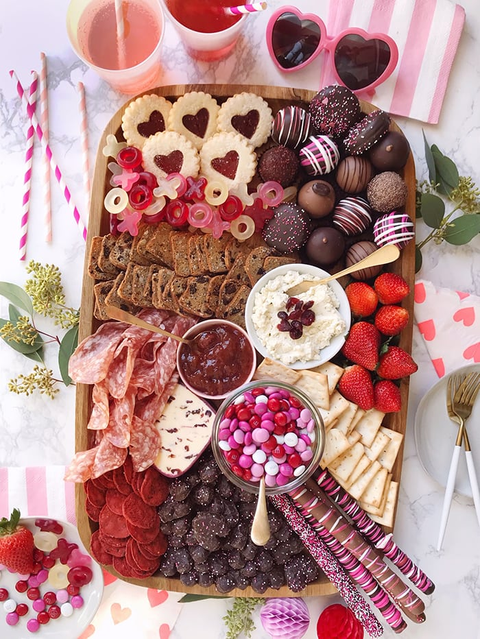 dessert charcuterie board - Valentine's Day
