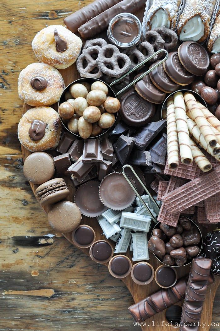 dessert charcuterie board - chocolate