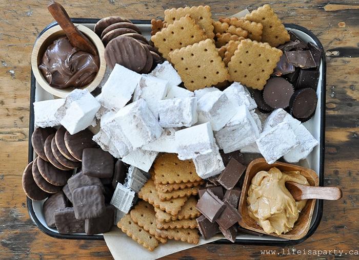 dessert charcuterie - Smores board