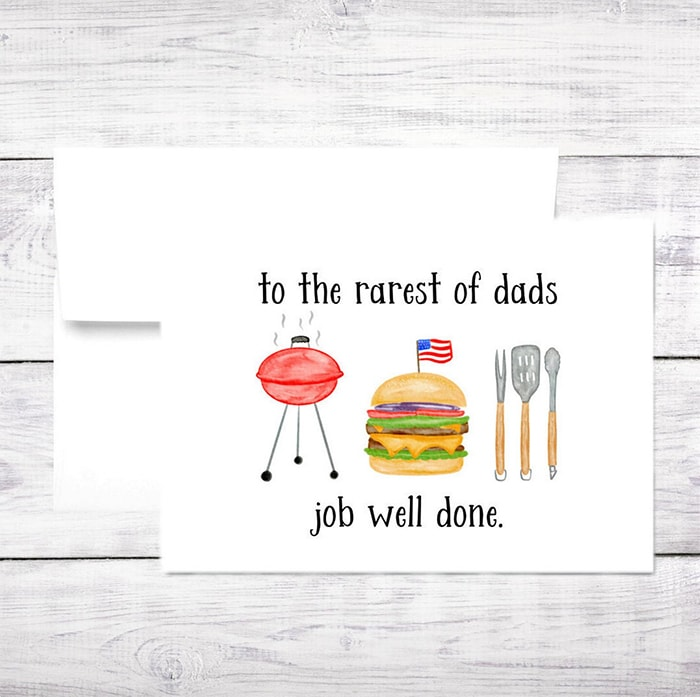 BBQ Puns - Rarest of Dad's Father's Day Card