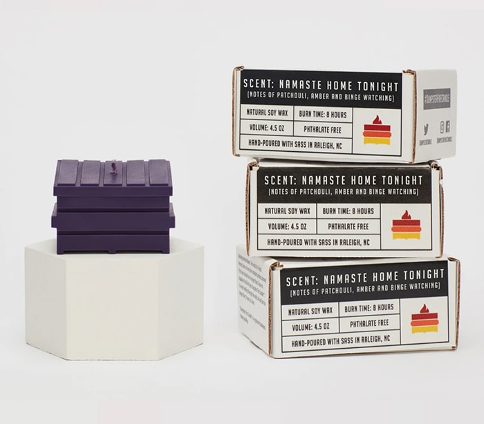 Dumpster Fire Candles - purple namaste home tonight