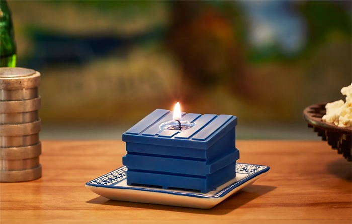 Dumpster Fire Candles - blue table for one