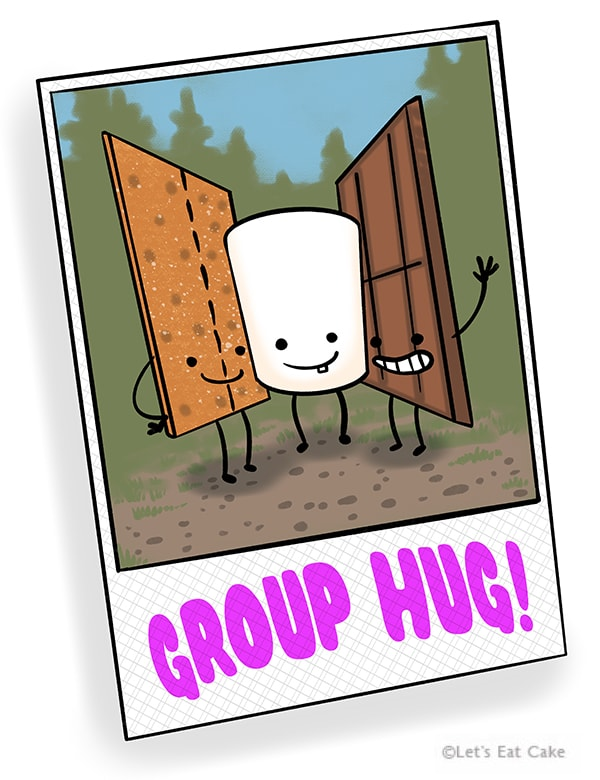 Smores Puns - Group Hug Between Chocolate Graham Crackers and Marshmallow
