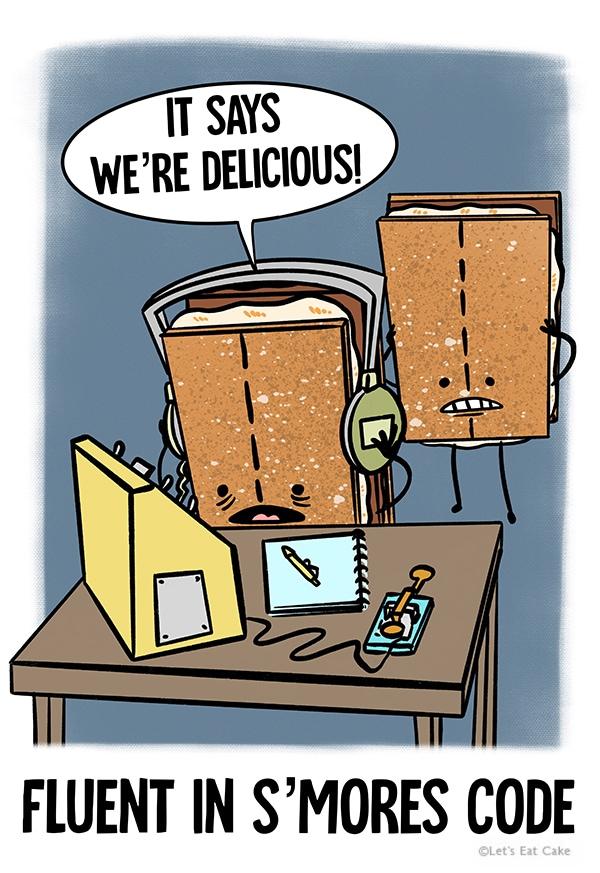 Smores Puns - Graham Crackers listening to Morse Code