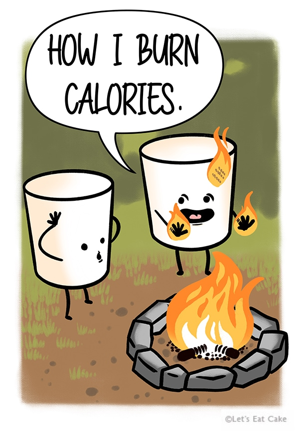 Smores Puns - Marshmallow Burning Calories on Fire