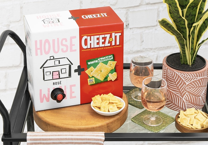Cheez-Its and Wine - rose on bar cart