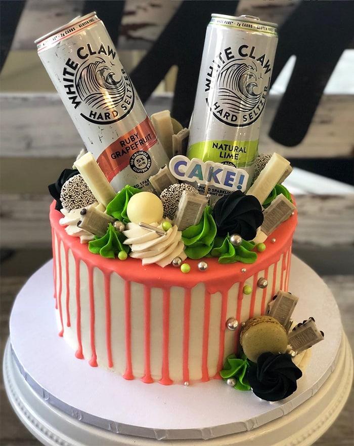 White Claw Drip Cake