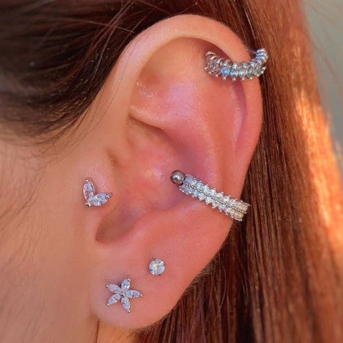 Types of Ear Piercings - helix tragus