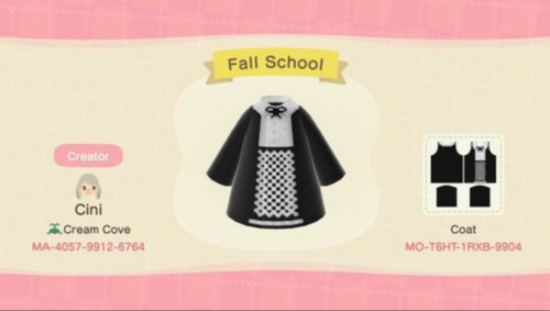 Halloween Design Codes Animal Crossing - Black and White Fall Uniform