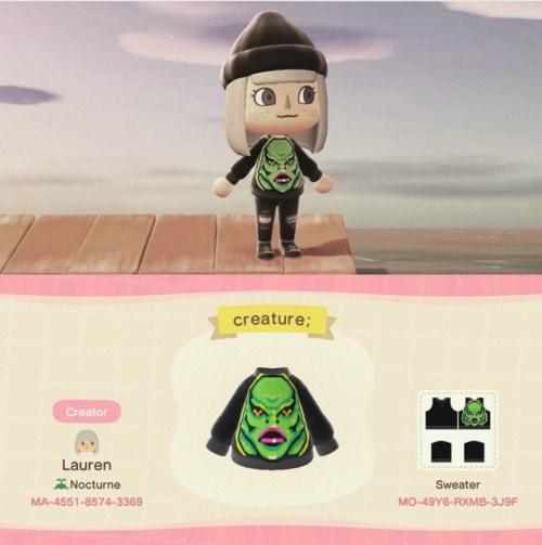 Halloween Design Codes Animal Crossing - Swamp Thing Sweater