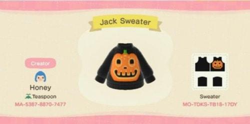 Halloween Design Codes Animal Crossing - Jack Sweater
