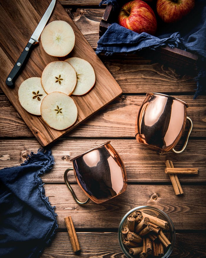 Apple Cider Mules - copper mugs on wood