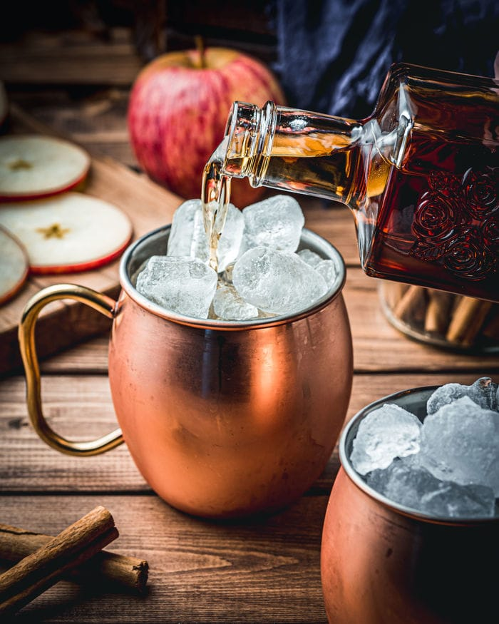 Apple Cider Mules - copper mug filled with ice