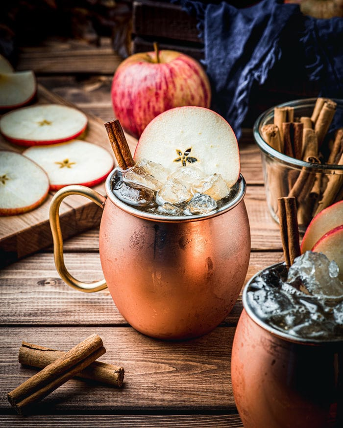 Apple Cider Mules - copper mug with ice and apple slice