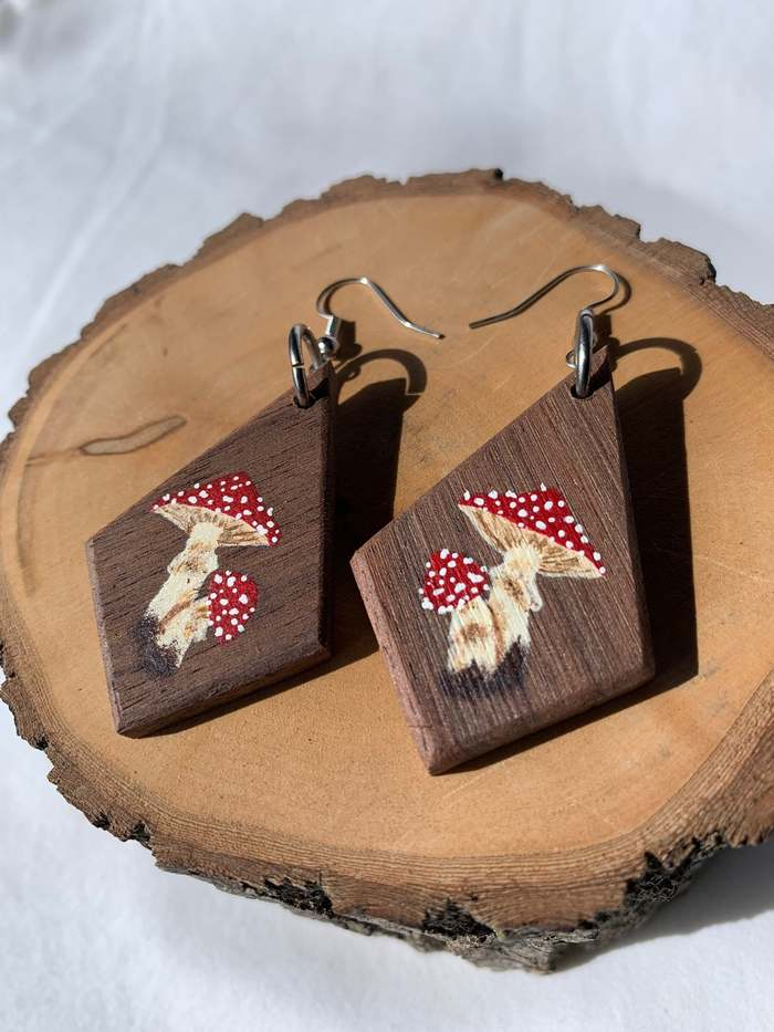 Cottagecore Jewelry geometric wooden mushroom painted earrings