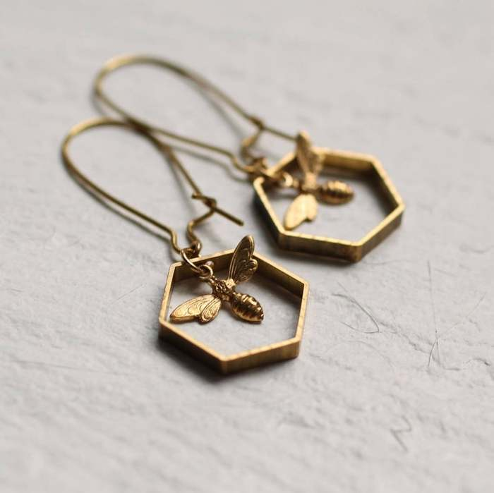 Cottagecore Jewelry hexagon bee dangle earrings
