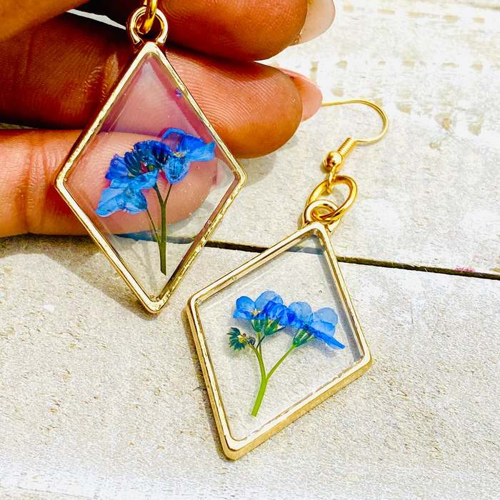 Cottagecore jewelry geometric flower resin dangle earrings