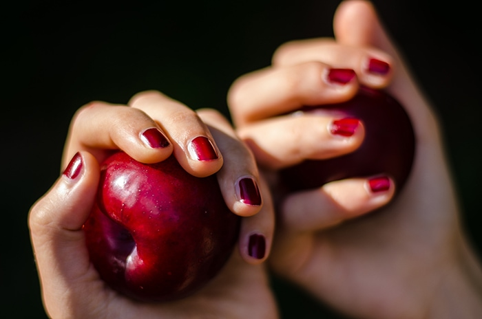 Fall Nail Colors - Hands HolFall Nail Colors - Hands Holding Apple with Red Nail Polish Onding Apple