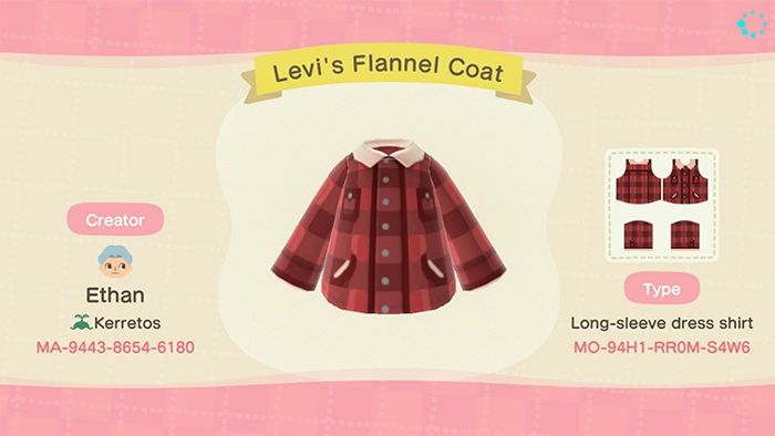 Fall Outfits Animal Crossing - Levi's Red Flannel Coat