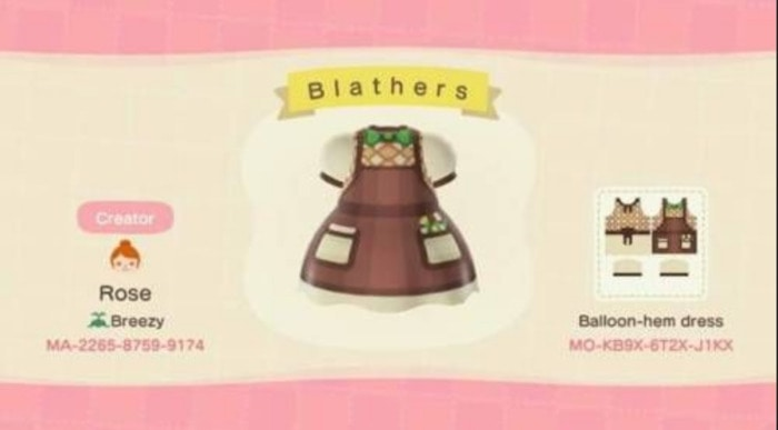 Fall Outfits Animal Crossing - Brown Blathers dress