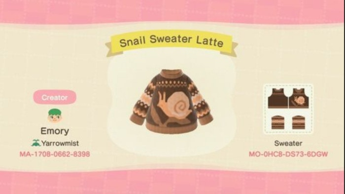 Fall Outfits Animal Crossing - Snail Sweater