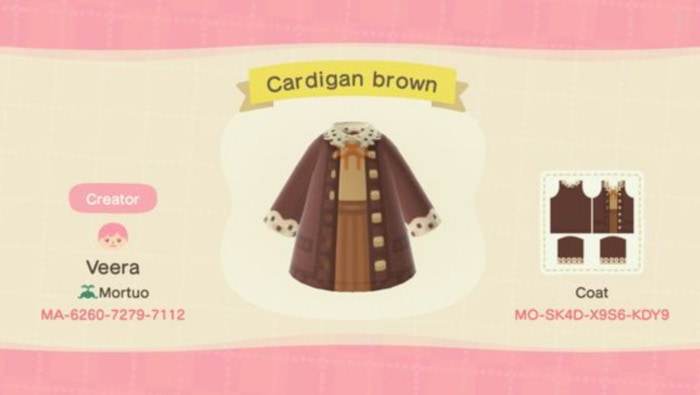 Fall Outfits Animal Crossing - Brown Cardian Uniform