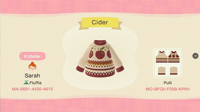 Fall Outfits Animal Crossing - Apple Cider Sweater