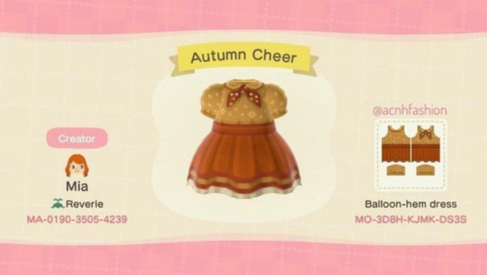 Fall Outfits Animal Crossing - Orange Skirt with Mustard Top and Tie
