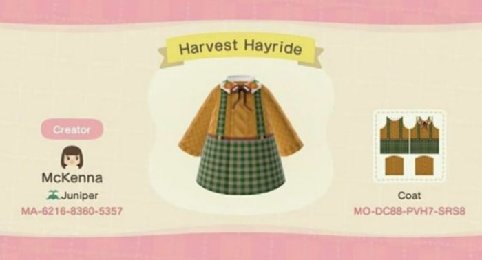 Fall Outfits Animal Crossing - Green Tartan Skirt with Mustard Sweater