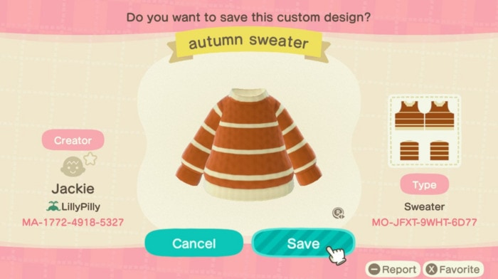 Fall Outfits Animal Crossing - Orange Cream Sweater