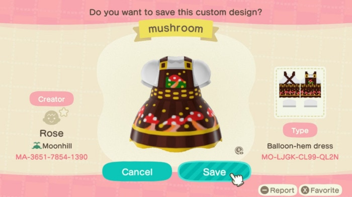 Fall Outfit Ideas Animal Crossing - Mushroom Dress