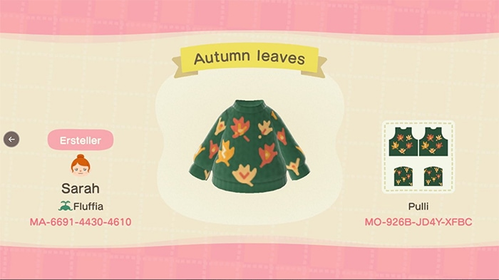 Fall Outfits Animal Crossing - Leaf Sweater