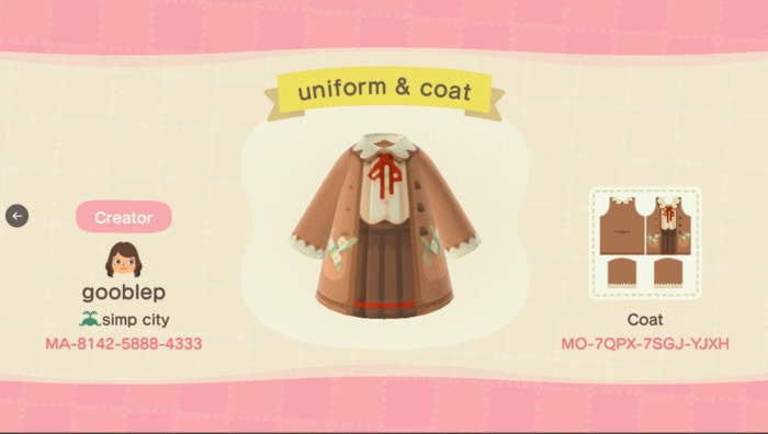 Fall Outfits Animal Crossing - beige cardigan with ruffled tie shirt and brown skirt