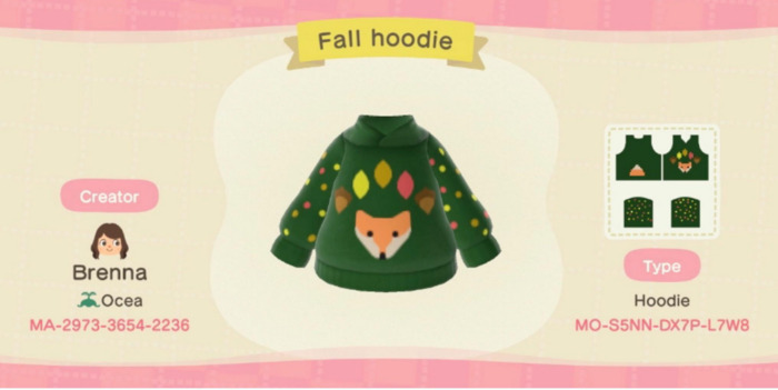 Fall Outfits Animal Crossing - green hoodie with fox and leaves