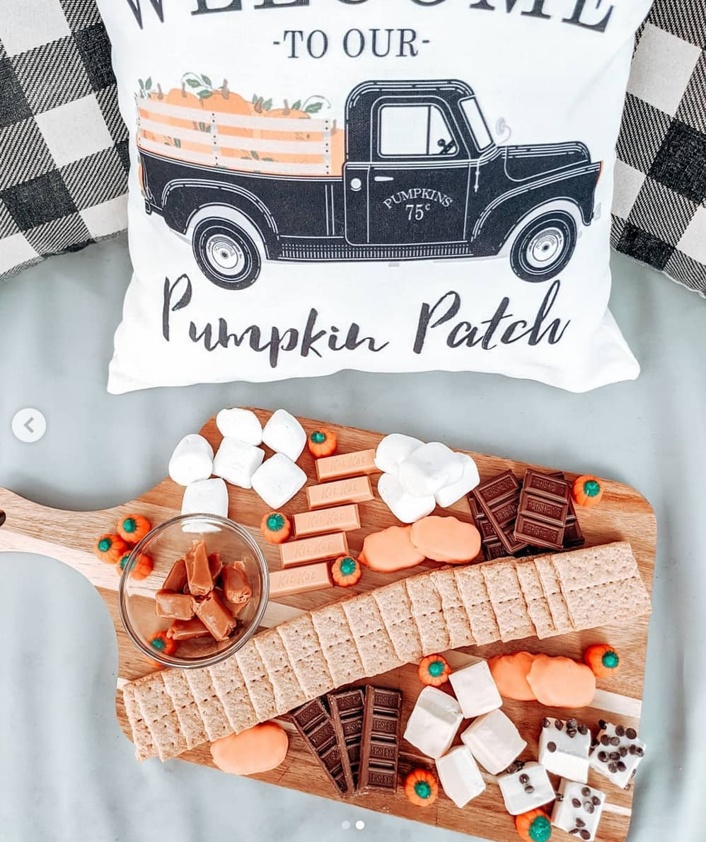 Smores Dessert Boards with candy pumpkins