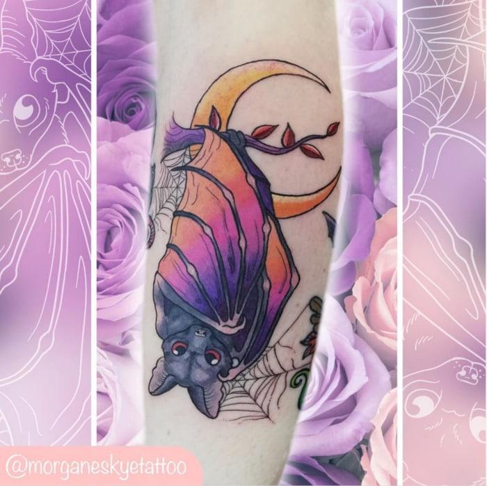 Bat Tattoos - Pink and Purple Sunset Bat