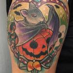 Bat Tattoos - With Pumpkin