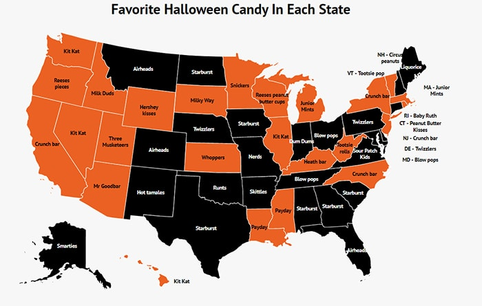 Most Popular Halloween Candy by State - Map