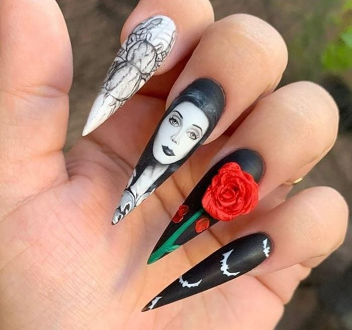 Black Halloween Nails - Adams Family