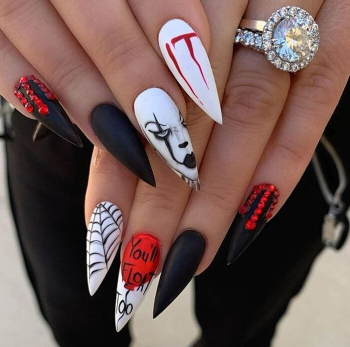 Black Halloween Nails - Vampires and fangs