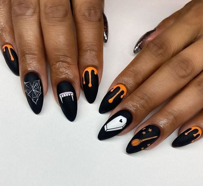 Black Halloween Nails - Coffins Fangs and Webs