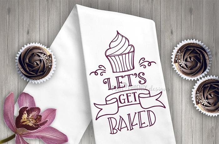 Cupcake Puns - Let's Get Baked Tea Towel