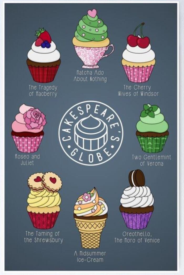 Cupcake puns - Shakespeare globe poster