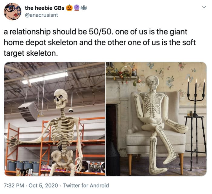 Funny Tweets By Women - Home Depot Skeleton