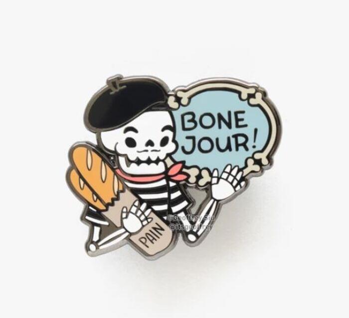 Skeleton Puns - French Skeleton Bone Jour