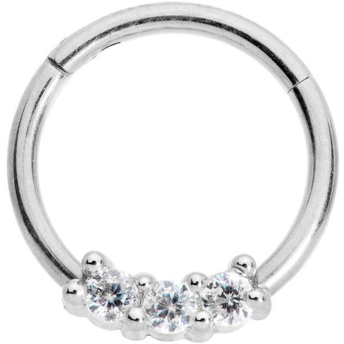 Tragus Piercing - Silver diamond set ring