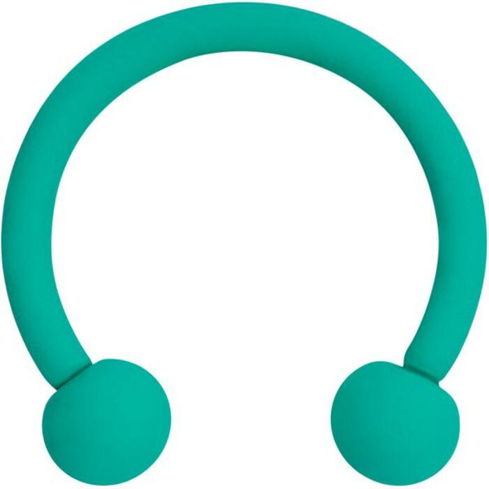 Tragus Piercing - Green horseshoe shape