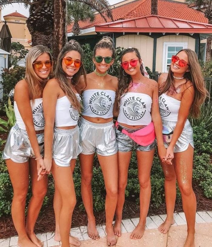 White Claw Halloween Costume - Silver shorts and white claw tees