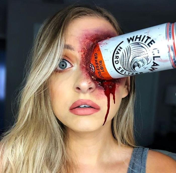 White Claw Halloween Costume - Scary Zombie Makeup White Claw Bottle In Eye