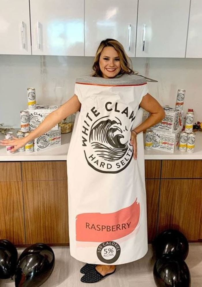 White Claw Halloween Costume - Full length white claw can costume